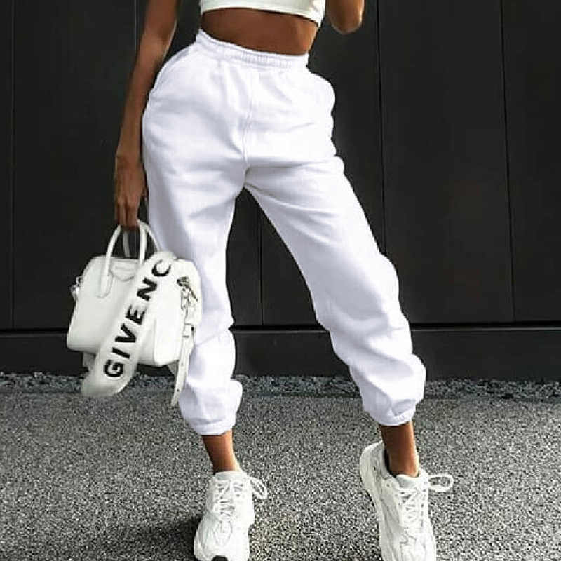 Pantalones De Jogging Informales Para Mujer Ropa Nueva De Cintura Alta Color Solido Otono E Invierno Gran Oferta 2019 Pantalones Y Pantalones Capri Aliexpress