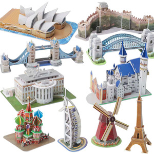 Kids Toddler Puzzle DIY Intelligence 3D Puzzle Science and Education City Landscape Puzzle Toys Gift for Boys Girls