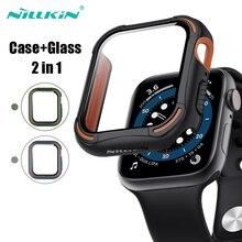 זכוכית + כיסוי עבור אפל שעון מקרה 40mm 44mm Nillkin מלא מזג + פגוש עבור אפל שעון סדרה 4 5 6 SE שעון אבזרים