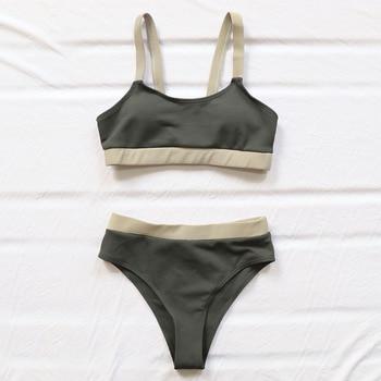 INGAGA High Waist Bikinis Swimsuits Bandeau Swimwear Women Splicing Biquini Beachwear Sports Ribbed Bathing Suits New 11