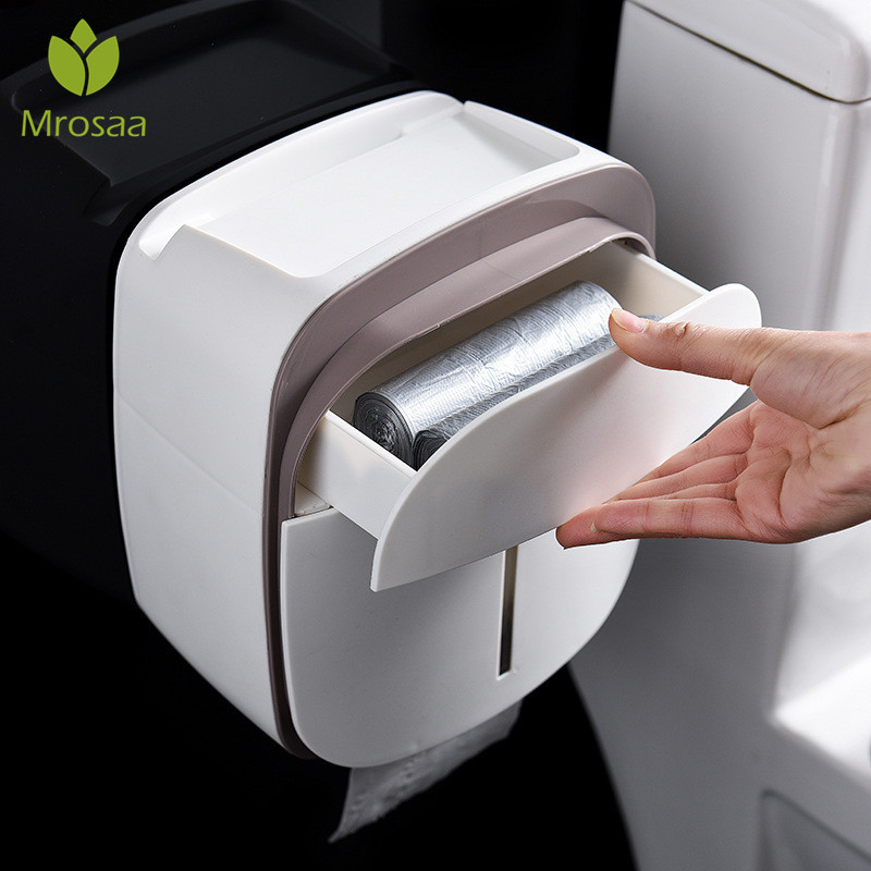 Waterproof Tissue Paper Holder Wall Mount Toilet Paper Holder Shelf Bathroom Roll Paper Tube Storage Box Rack Creative Tray