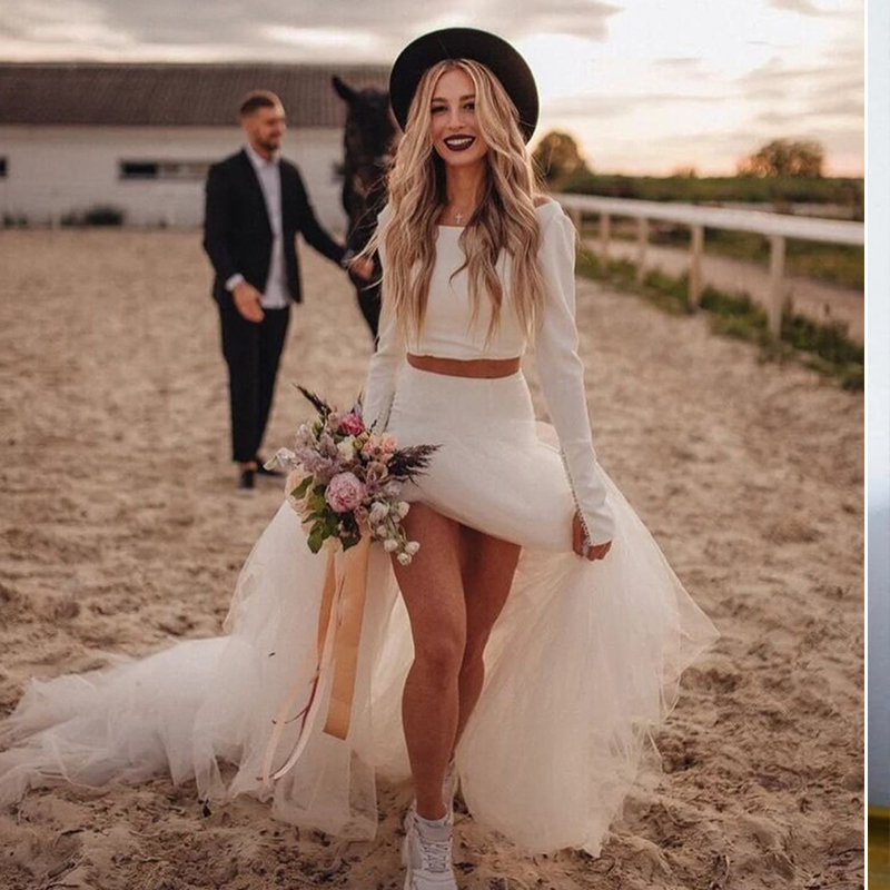 Bohemian Vintage Two Pieces Wedding Dresses 2021 Robe De Mariee New Vintage Long Sleeve Bridal Gown O-Neck Beach Wedding Gown
