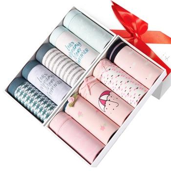 ZJX 5Pcs/lot Panties Women Underwear 100% Cotton Comfort Seamless Girls Lovely Print Briefs Breathable Lingerie
