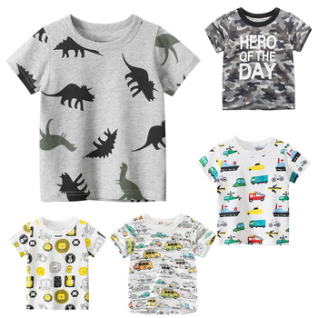 Children T-shirt for Boy Summer Animal Print Dinosaur Boys T Shirt for Girls Tops Cartoon Kids t shirt Casual Clothes 1-8 Yrs kids t shirt funny boys clothes cartoon game print t shirt costume boys t shirt girls summer kids clothes t shirt children shirt