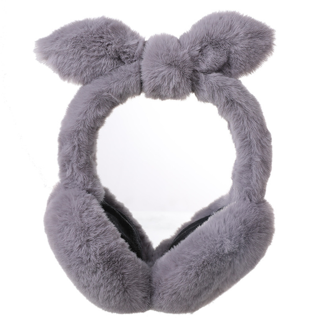 2020 New Hot Fashion Cute Plush Butterfly Knotting Ears Winter Warm Adjustable Earmuffs Purchasing High Quality