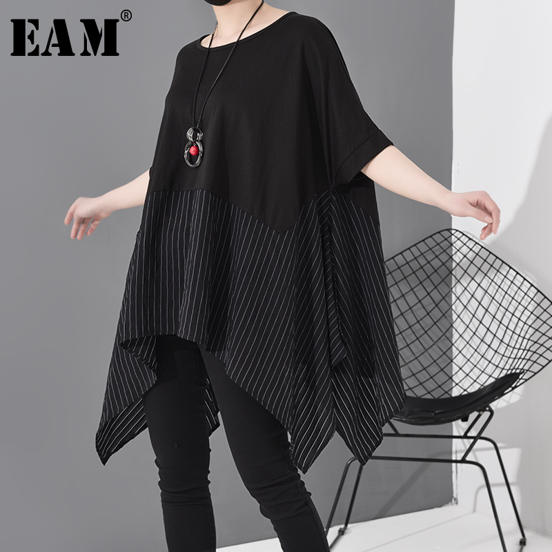[EAM] Women Black Striped Asymmetrical Big Size T-shirt New Round Neck Short Sleeve  Fashion Tide  Spring Summer 2020 JS953 1