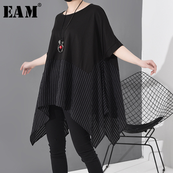 [EAM] Women Black Striped Asymmetrical Big Size T-shirt New Round Neck Short Sleeve  Fashion Tide Spring Summer 2021 JS953 - discount item  32% OFF Tops & Tees
