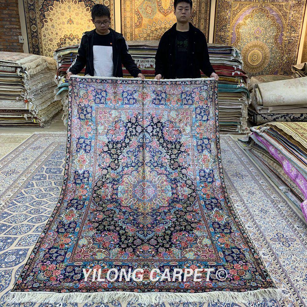 Yilong 5'x8' tapis persans tissés à la main Antique turc médaillon tapis de soie (ZSH003AF)
