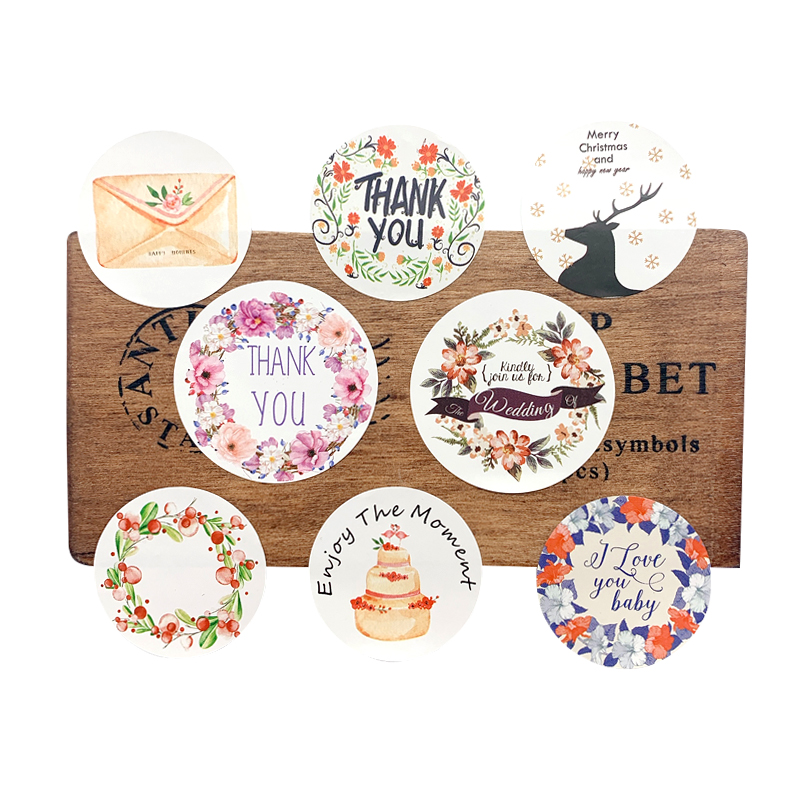 120pcs/lot Round Colored Wreath Thank You Flower Sealing Sticker DIY Gifts Posted Baking Decoration Label Multifunction