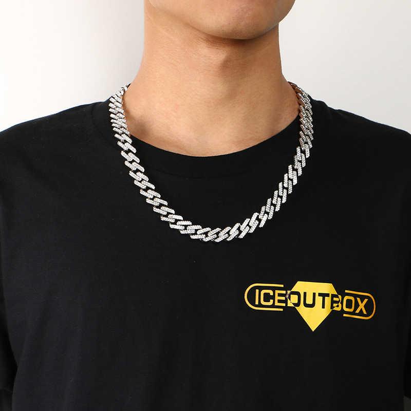 14 มม.Iced OUT Miami Cuban Link Chain Hip Hop แฟชั่นผู้ชายสร้อยคอ Rhinestone Bling Gold Silver Jewlery 50 /60/75/100 ซม.ยาว