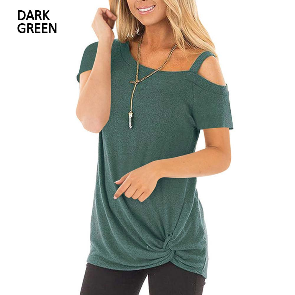 Sexy T Shirt Women Cold-shoulder Short Sleeve 2021 New Summer Tee Shirts Women Clothes Fashion Tie Long Tees Female camiseta