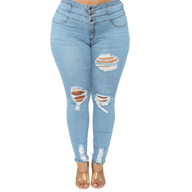 Women's Plus size jeans Black and blue high waist ripped jeans Fashion casual skinny denim pencil pants L-5XL drop shipping 5