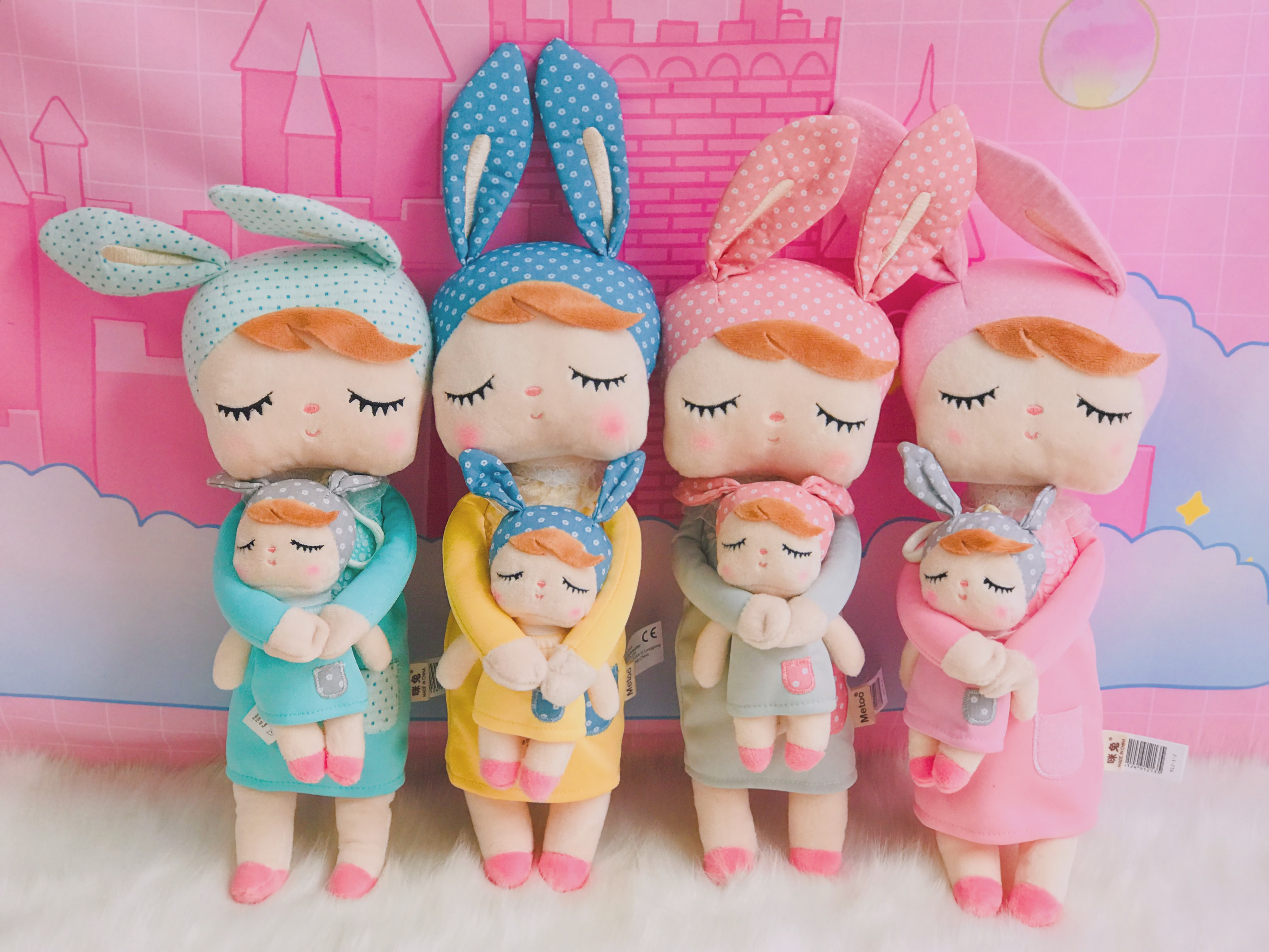 Metoo Dolls Stuffed Toys Plush Animals Angela 2 Piece Set Kids Toys For Girls Children Kawaii Baby Plush Cartoon Angela Rabbit
