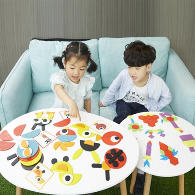 Juguetes tangram пазл 3d Животные головоломки Детские деревянные игрушки для детей игры Творческие Пазлы Обучающие Игрушки для раннего развития