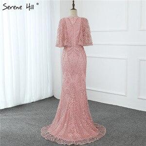 Image 5 - Dubai rosa com decote em v pérolas rendas vestidos de baile 2020 meia mangas sereia sexy elegante formal vestidos de baile bla70156