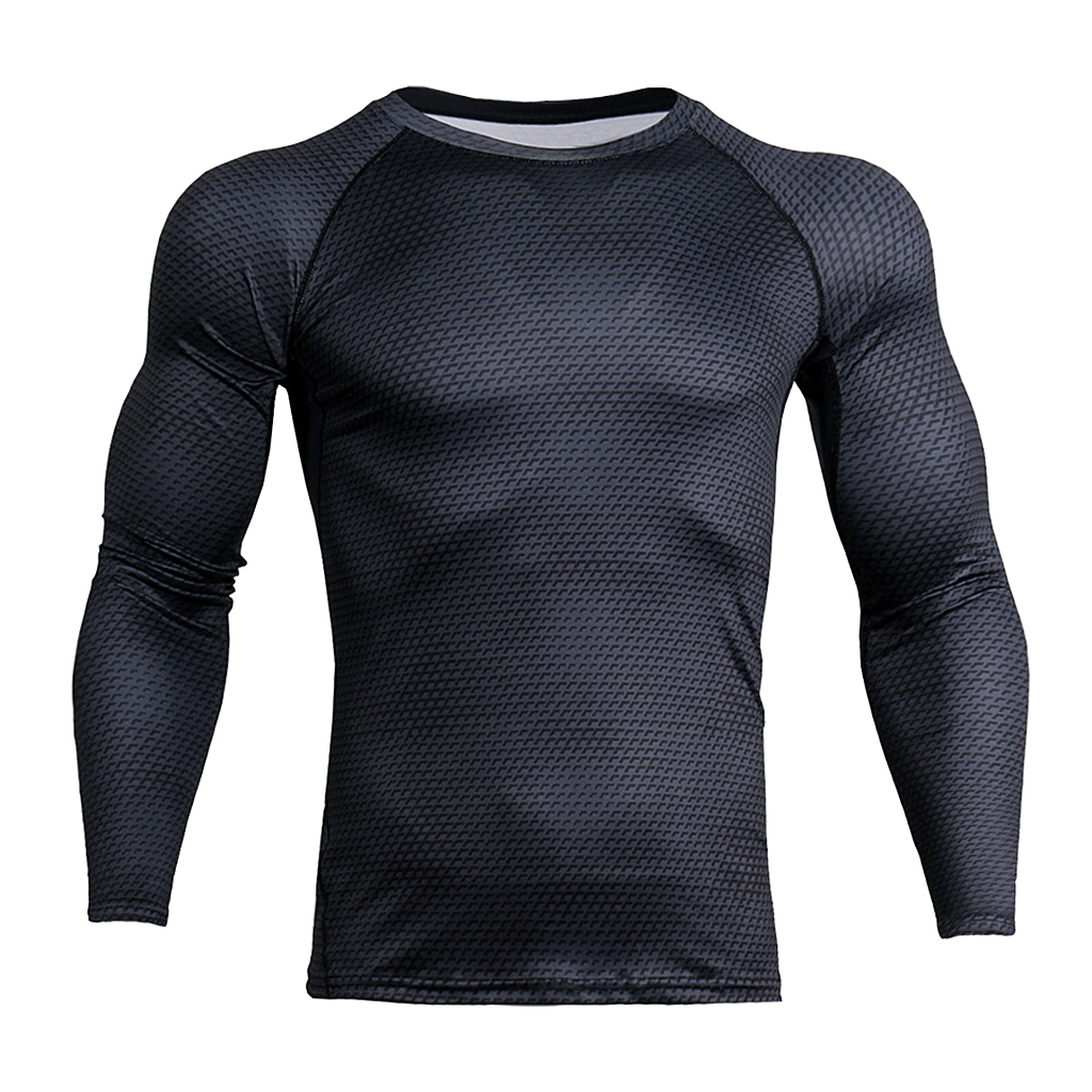 Men Black Long Sleeves Tights Sports Shirt Fitness Compression Tops S-3XL