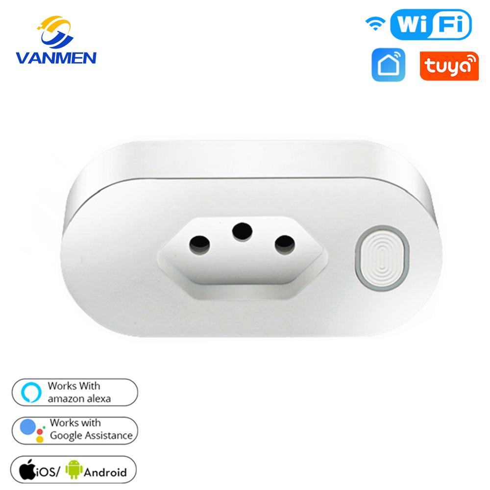 Tuya Brazil Smart WIFI <font><b>Socket</b></font> BR Plug <font><b>Wireless</b></font> Outlet Timing Plug 16A Energy Monitor For Alexa Google Home image