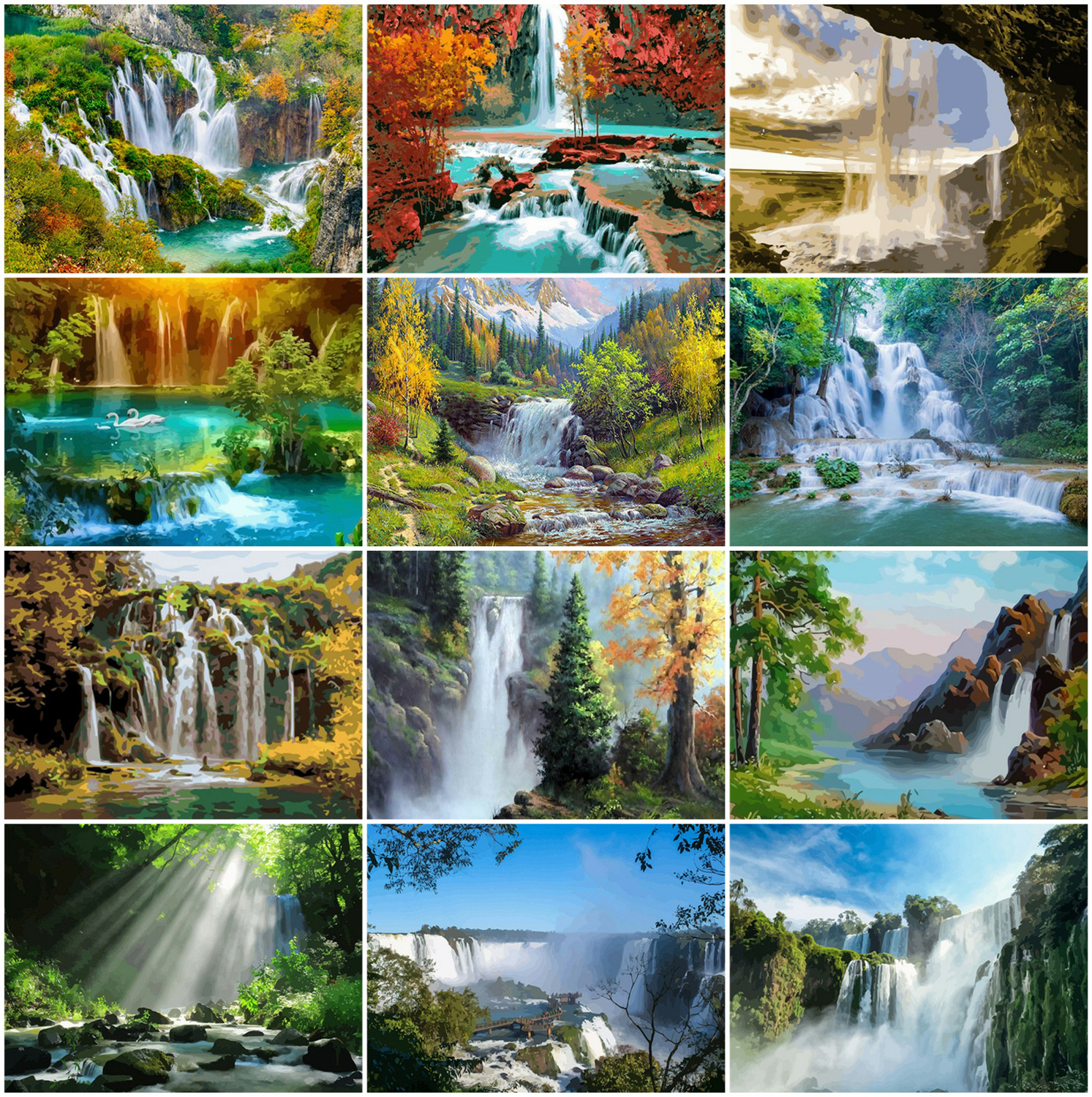 AZQSD Painting By Numbers Waterfall On Canvas DIY 40x50cm Acrylic Paint Coloring By Numbers Natural Landscape Handpainted Gift