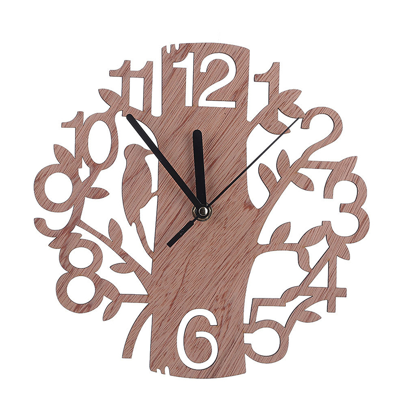 #<font><b>82018</b></font> Creative 3D Wooden Tree and Bird Clock Modern European Style Clock Home Decoration Large Size Wall Clock CM image
