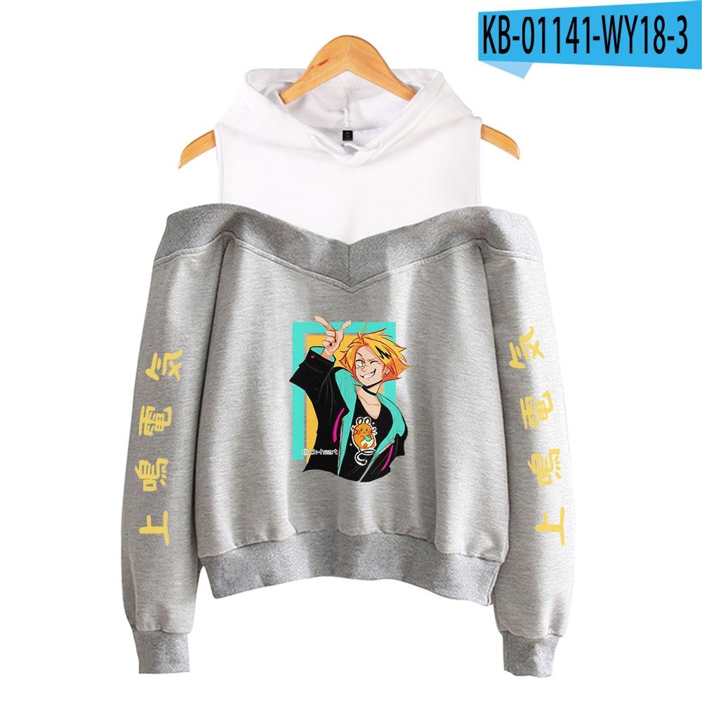 My Hero Academia Hoodies Female Off Shoulder Sweatshirt Women's Pullover Harajuku Streetwear Denki Kaminari 2021 Anime Clothes 11