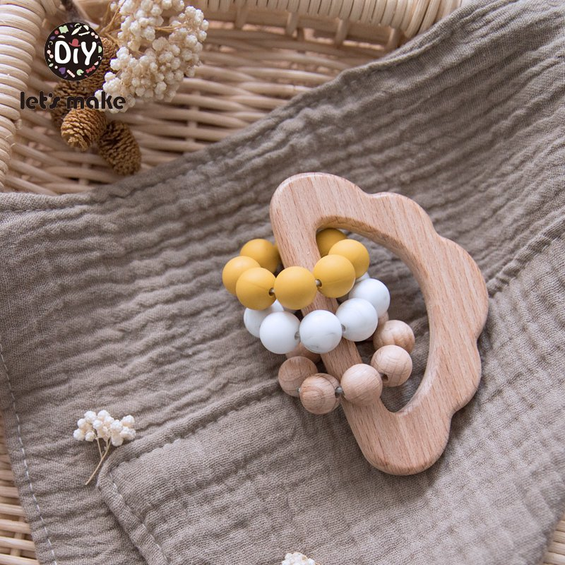 Let's Make Baby Toys Hanging Wood Silicone Beads Beading Educational Toys Bed Bell Cloud 0-12 Months 1PC BPA Free Wooden Rattles