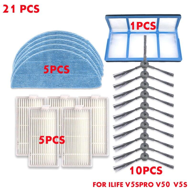 21PCS Robot Vacuum Cleaner HEPA Side Brush Kit For Ilife V5s Pro Parts V50 V5S As Seen On Tv Dust Cleaning Sweeper Vacuum Brush