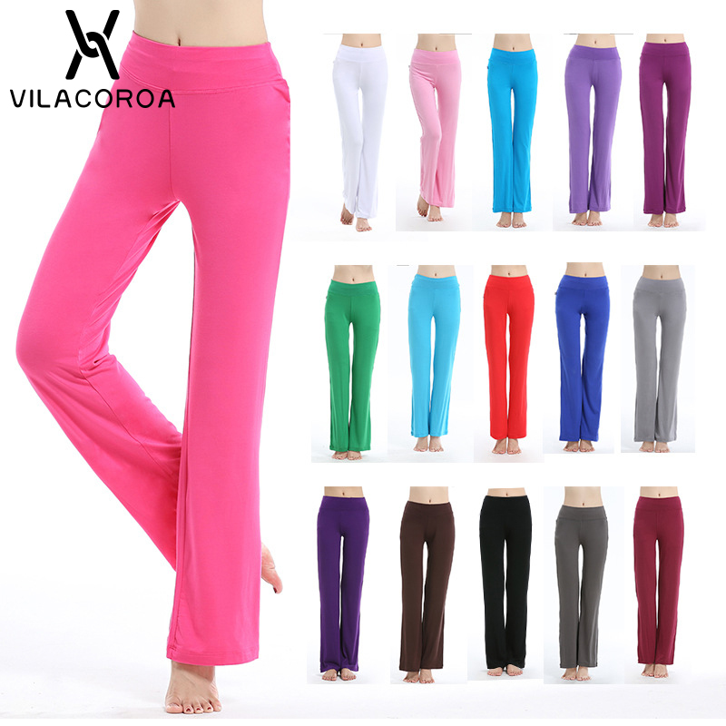 Solid YogaPants Flare At Bottom Women Mid Fitness Sportwear Trousers Leggings 16 Colors White Pants