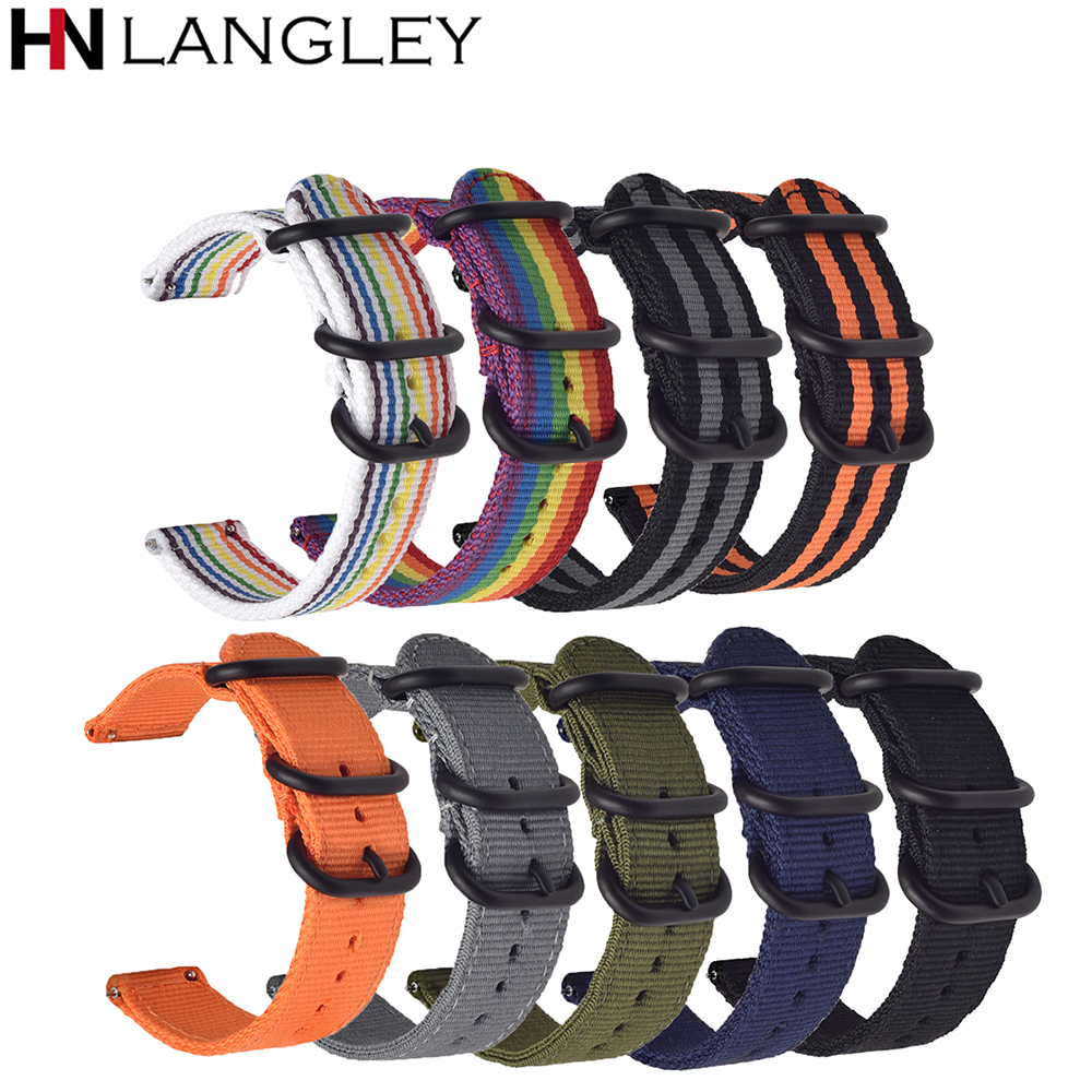 Universal Watch Band 18/20/22/24 Mm Size Soft Sports Military Style Watch Band Woven Nylon NATO Watch Strap Metal Buckle