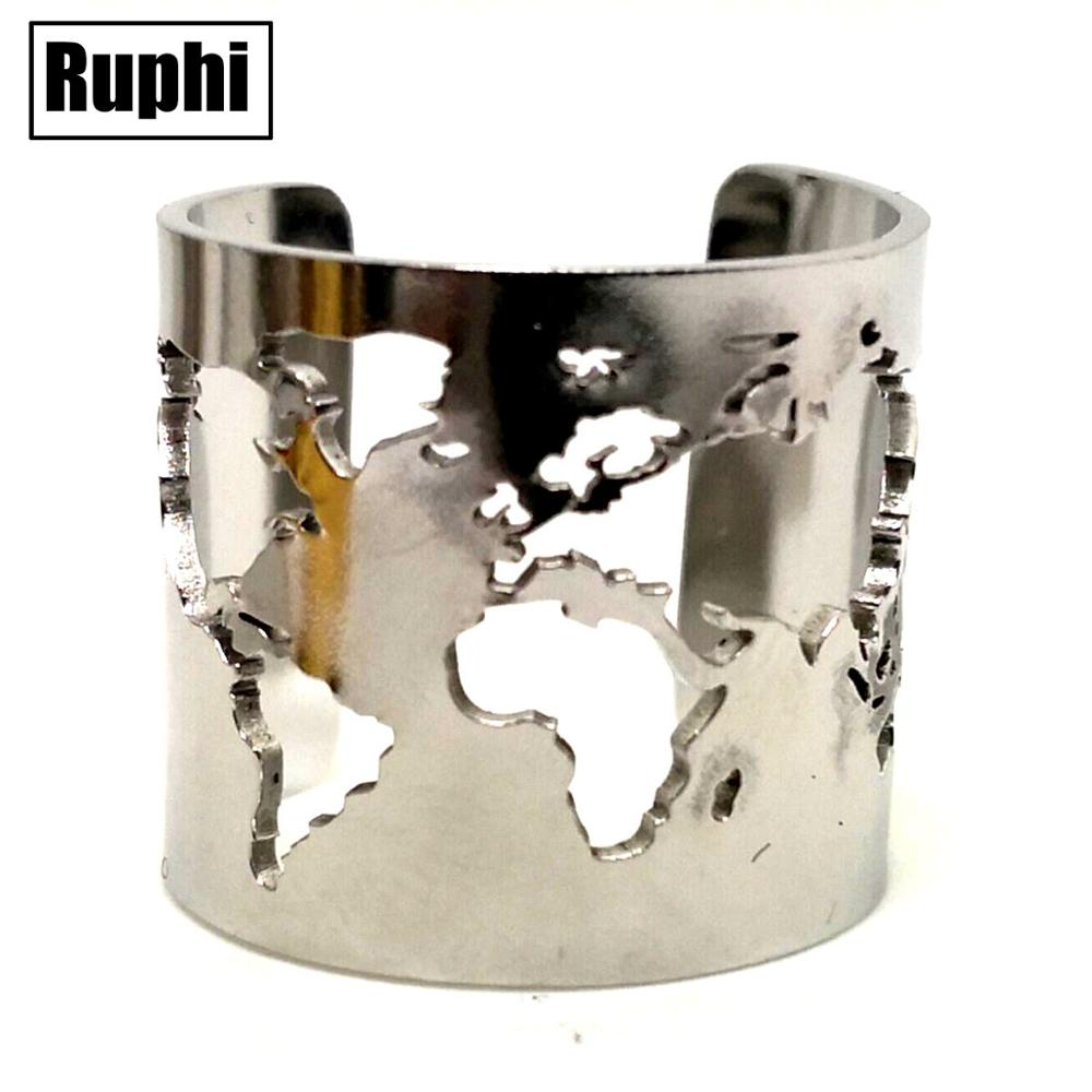 Travel Peace Jewelry Acero inoxidable 20 25mm de ancho mapa del mundo corte pulido fino círculo ángulo abierto anillo ajustable