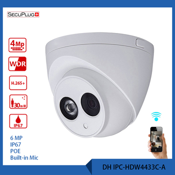 Secuplg+ IPC-HDW4433C-A Camera wifi metal shell 6MP Built-in MIC POE IR 50m IP67 IK10 ip camera replace CCTV camera 100% original 6mp dahua ip camera english firmware ir 80m h 265 ipc hfw4631m i2 ir cut hd1080p support poe dh ipc hfw4631m i2