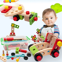 Wooden Screwing Block Toys Nut DIY Wooden Disassembly Baby Multi-function Repair Tool Set Assembly Kid Simulation Toy Gift
