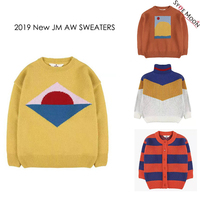 Kids Sweaters 2019 JM Brand New Autumn Winter Boys Girls Fashion Print Knit Pullover Baby Children Cotton Tops Clothes Outwear