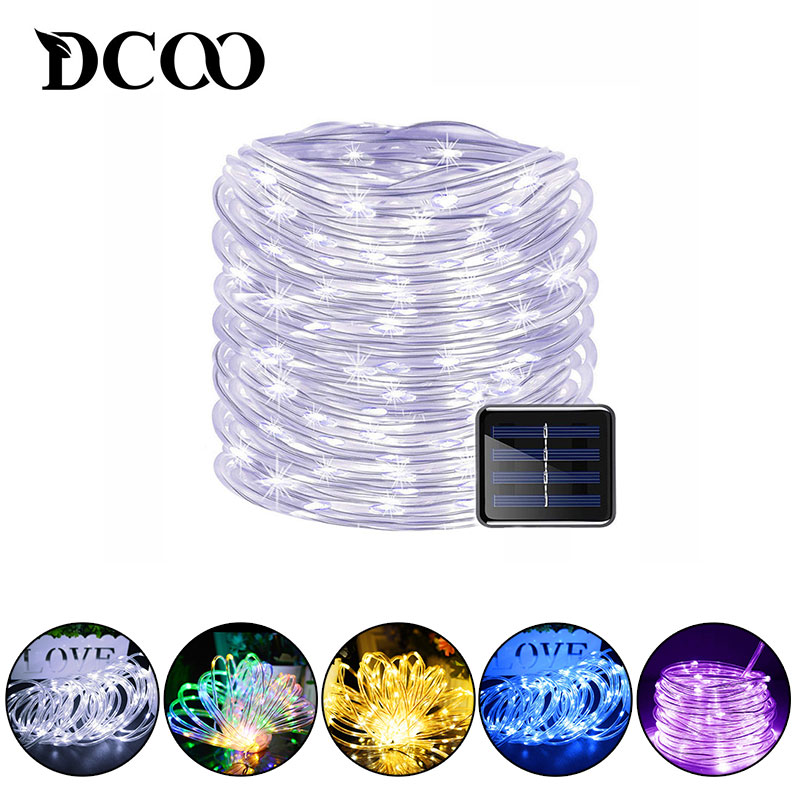 DCOO Solar Rope Lights 120LEDs Solar Powered LED String Lights Outdoor Garden Party Lighting Solar Rope String Lights Waterproof