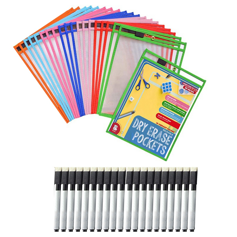 20x Dry Erase Pockets Pockets Perfect Classroom Organization Reusable Dry Erase Pockets Teaching Supplies