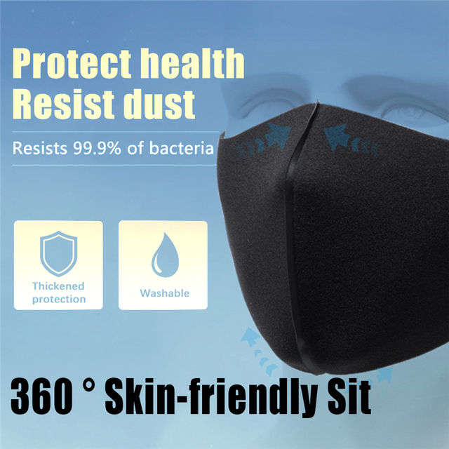 Black Mouth Mask Anti Dust Mask PM2.5 Activated Carbon Filter Windproof Bactea Proof Flu Face Masks Care Safety Mask for Dust 4