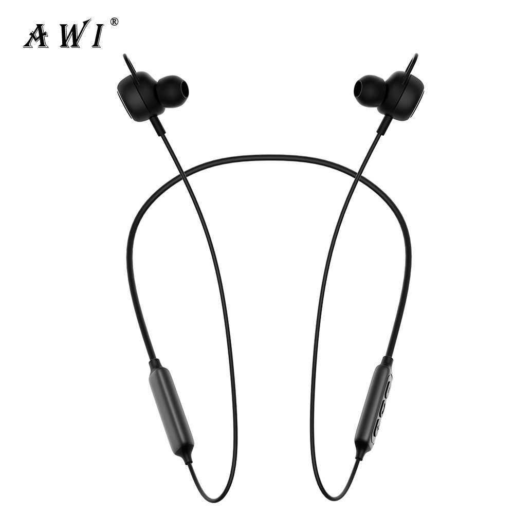 AWI Bluetooth Headphone Wireless Headset 3D Stereo Earphone Handsfree Magnetic Earbuds With Microphone For Sport Gaming