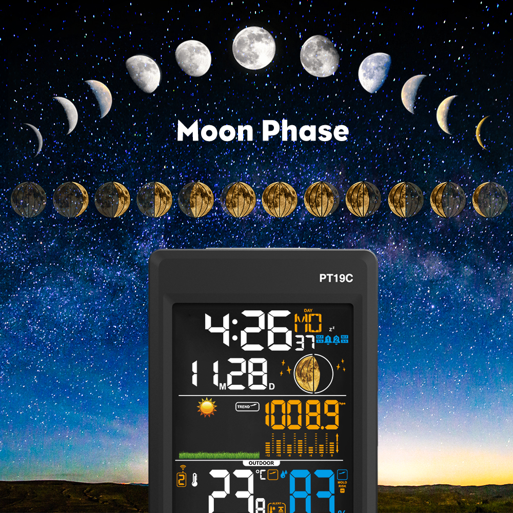 PROTMEX PT19C Weather Station Temperature Humidity Wireless Colorful LCD Display With Barometer Weather Forecast