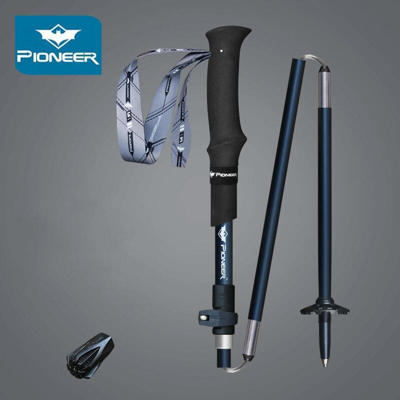 2 pcs pioneer caminhadas trekking polos de aluminio carbono dobravel portatil bengala ajustavel 5 secao nordic