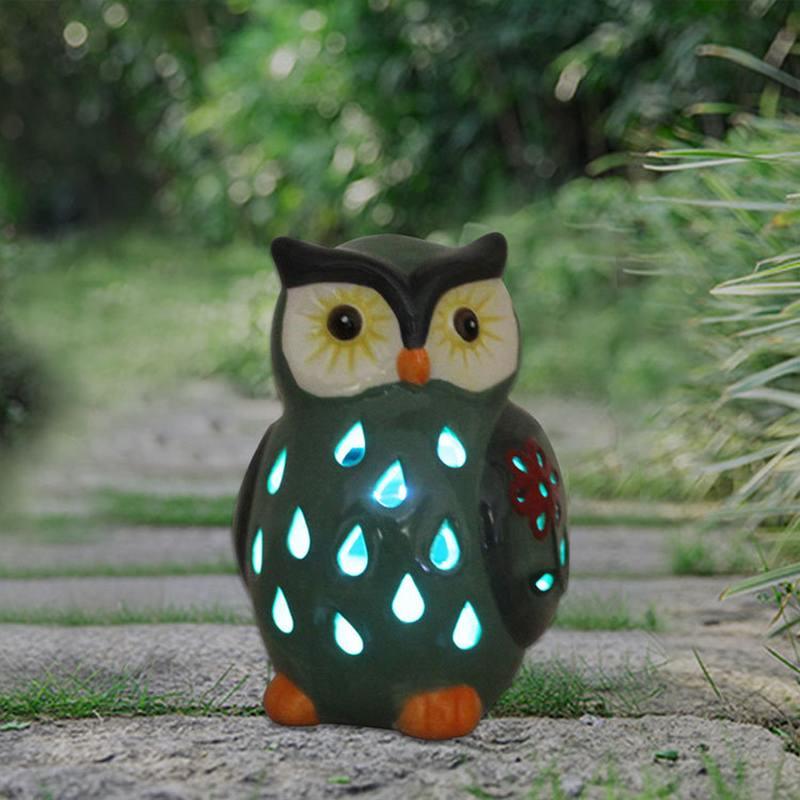 Solar Powered Owl Light Ceramic Light for Deck Yard Garden Home Pathway Landscape for Decoration Home Decor