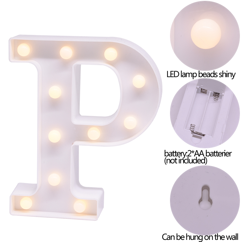 26 Alphabet 0-9 Digital LED English Plastic White Letter Night Warm Light  Battery Valentine's Day Gift Wedding Party Decoration