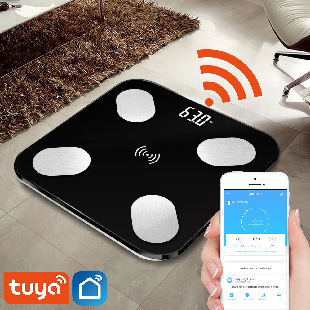 Tuya Smart Body Fat Scale Wifi  Body Composition Monitor With LED Display Hidden And Big Feet Pad One-touch Connection To Phone