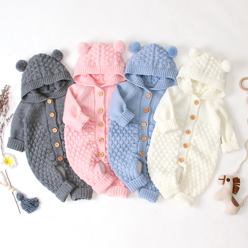 Brand Baby   Rompers   Knitted Long Sleeve Knit Newborn Bebes Boys Girls Jumpsuits Autumn Winter Toddler Children Overalls Clothing