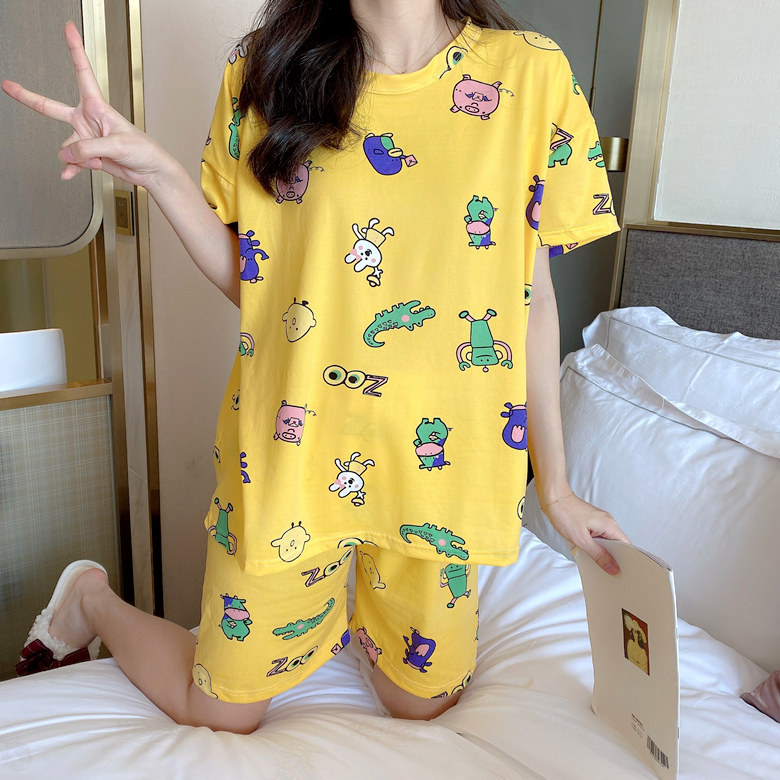 Summer Short-sleeved Pajamas Women's Yellow Cow M -Xxl