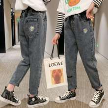 Children's Trousers Cartoon Print Denim 3-10 Year Jeans For Girls Spring Autumn Baby Girl Jeans With Holes Cotton Fashion