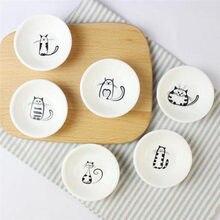 6 шт./компл. милый кот мини формы в виде сердца пигменты керамика соевое блюдо соус уксус Джем блюда кухня маленькая тарелка набор посуды подарки