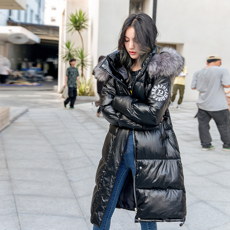 Female Winter Big Faux Fur Collar Hooded Parka Mujer Coats Thick Jacket Women Plus Size Warm Glossy Cotton Padded Long Overcoat