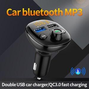 Image 3 - QC 3.0 شاحن سيارة سريع بلوتوث المزدوج USB شاحن الهاتف المحمول سيارة Fm الارسال شحن سريع MP3 TF بطاقة الموسيقى سيارة عدة لاعب