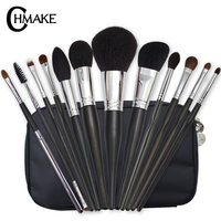 CHMAKE 12Pieces Makeup Brushes Set blcak/silver Foundation High Quality Makeup brushes Eyelash goat horse synthetic hair