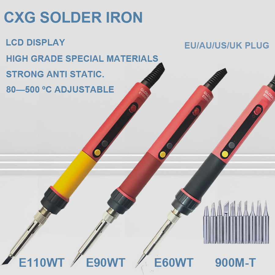 Free shipping CXG E60w/90w/110w LCD Temperature Digital LED Adjustable Electric Soldering Iron EU Plug +10pcs solder tips+holder-in Electric Soldering Irons from Tools