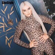 Shestyle Leopard Bodycon Sexy Jumpsuits Women Zipper Turtleneck Animal Print Aut